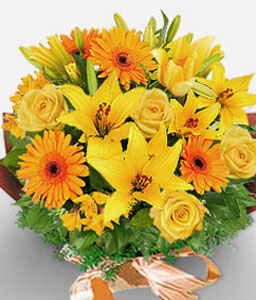 Mespelbrunn-Green,Orange,Yellow,Daisy,Gerbera,Lily,Mixed Flower,Rose,Bouquet