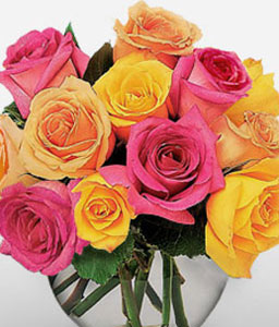 Rainbow Roses-Orange,Pink,Yellow,Rose,Arrangement