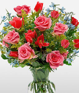 Mothers Day Special-Blue,Red,Rose,Mixed Flower,Arrangement