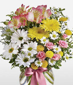 Magnificence In Miniature-Mixed,Pink,White,Yellow,Carnation,Chrysanthemum,Daisy,Gerbera,Lily,Mixed Flower,Arrangement