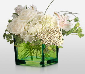 Pure-White,Alstroemeria,Hydrangea,Mixed Flower,Rose,Arrangement