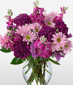 Majestic-Mixed,Pink,Purple,Carnation,Daisy,Arrangement