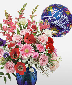 Birthday Fireworks-Mixed,Pink,Purple,Red,White,Gerbera,Daisy,Chrysanthemum,Carnation,Balloons,Mixed Flower,Arrangement