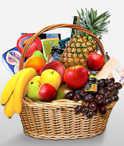 Classic Fruit & Gourmet Basket-Chocolate,Fruit,Gourmet,Basket,Hamper