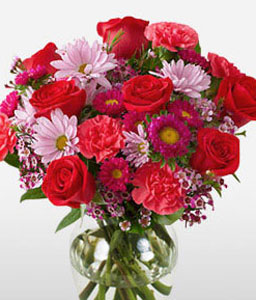 Paradise-Pink,Red,Carnation,Daisy,Mixed Flower,Rose,Arrangement
