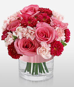 Charm-Pink,Red,Carnation,Mixed Flower,Rose,Arrangement