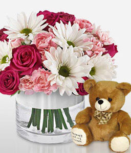 Bliss-Mixed,Pink,Red,White,Teddy,Rose,Mixed Flower,Gerbera,Daisy,Carnation,Arrangement
