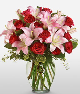 Love Divine-Pink,Red,Lily,Rose,Arrangement