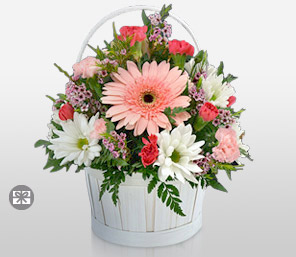 Timeless Elegance-Mixed,Orange,Pink,White,Mixed Flower,Gerbera,Daisy,Carnation,Arrangement,Bouquet