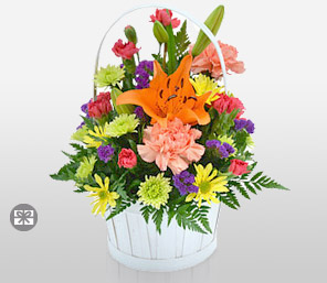 Bright Sensation-Mixed,Orange,Pink,Purple,Yellow,Carnation,Daisy,Gerbera,Lily,Mixed Flower,Arrangement,Basket