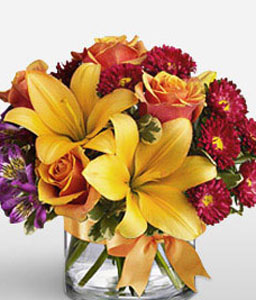 Autumn Beauty-Mixed,Purple,Red,Yellow,Alstroemeria,Lily,Mixed Flower,Rose,Arrangement