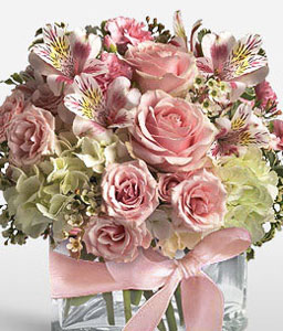 Fresh Mixed Flowers In Cube-Mixed,Pink,White,Carnation,Hydrangea,Mixed Flower,Rose,Arrangement