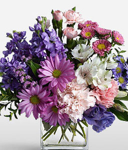 Lavender Ice-Mixed,Pink,Purple,White,Alstroemeria,Carnation,Chrysanthemum,Mixed Flower,Arrangement