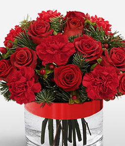 Crimson Desire-Red,Carnation,Rose,Arrangement