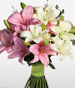 Upper Crest-Pink,White,Lily,Bouquet