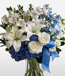 Cool Water-Blue,White,Hydrangea,Lily,Mixed Flower,Bouquet