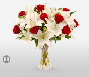 Fire and Ice-Red,White,Lily,Rose,Bouquet