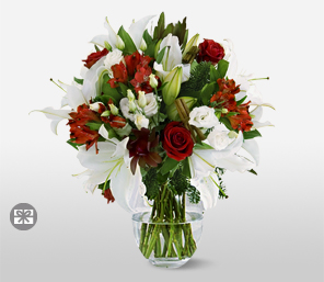 Fire And Ice-Mixed,Red,White,Rose,Mixed Flower,Lily,Bouquet