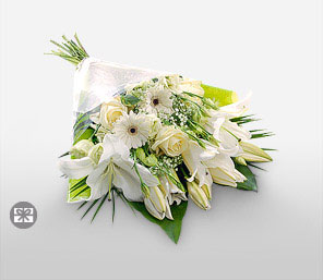 White Gift Wrap-White,Daisy,Gerbera,Lily,Rose,Bouquet