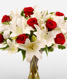 Fire And Ice<Br><Font Color=Red>Red Roses + White Lilies</Font>
