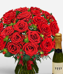 Love Spell-Red,Rose,Bouquet,Champagne