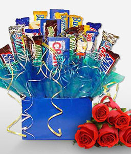 Chocoholic-Red,Chocolate,Gourmet,Rose,Basket,Hamper