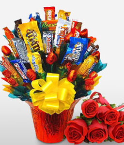 Chocolot-Red,Chocolate,Gourmet,Rose,Basket,Hamper