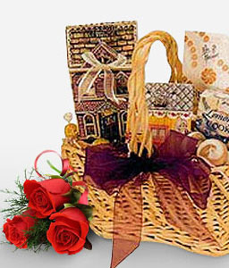 Gourmet Gift Basket-Red,Chocolate,Gourmet,Rose,Basket,Hamper