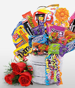 Sweet Tooth-Red,Chocolate,Gourmet,Rose,Basket,Hamper