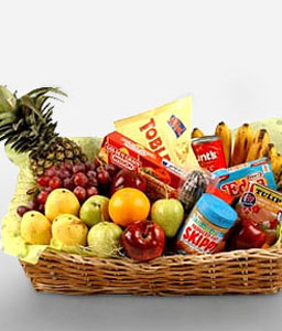 Food Hamper With Fruits-Chocolate,Fruit,Gourmet,Basket,Hamper