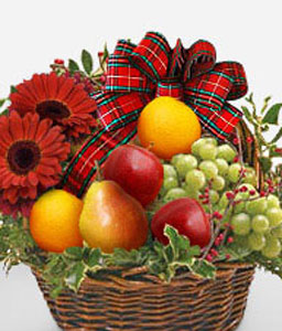 Fruit & Flowers Basket-Fruit,Gerbera,Basket,Hamper
