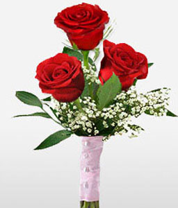 Elegant Romance - 3 Red Roses-Red,Rose,Bouquet