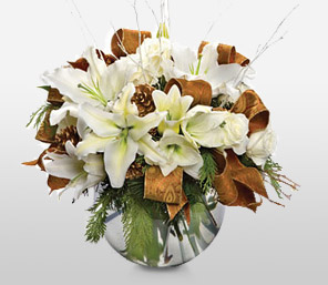 Golden Celebration-Green,Mixed,White,Yellow,Rose,Lily,Arrangement