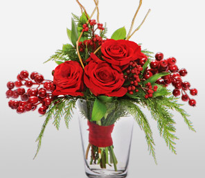 Romance Roses-Green,Red,Rose,Arrangement
