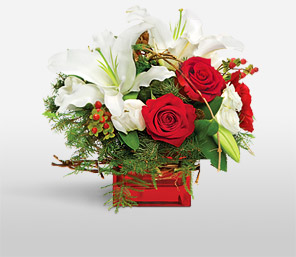 Lovey Dreams-Green,Red,White,Lily,Rose,Arrangement,Basket