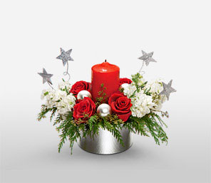 Celebrating Christmas-Red,Rose,Candle,Centerpiece