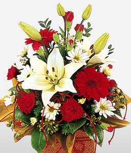 Mixed Flowers Basket-Red,White,Carnation,Daisy,Gerbera,Lily,Bouquet