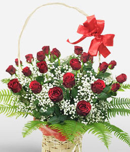 Deluxe Basket Of Warm Wishes-Red,White,Rose,Arrangement,Basket