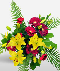 Flower Bunch-Green,Red,Yellow,Carnation,Gerbera,Arrangement