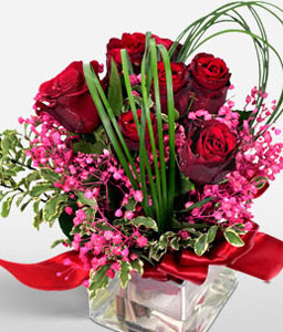 Rose Cube-Purple,Red,Rose,Arrangement