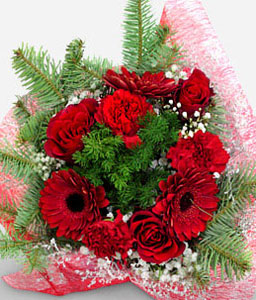 Valentines Flowers-Red,Gerbera,Rose,Bouquet