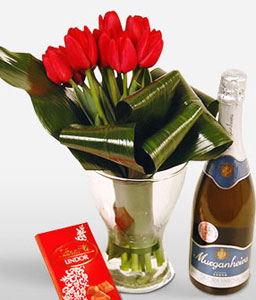 Array Of Love-Red,Tulip,Arrangement,Hamper,Champagne