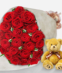 Perfect Love-Red,Rose,Teddy,Bouquet