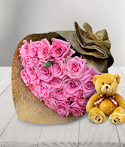 Kissed By A Rose-Pink,Rose,Teddy,Bouquet