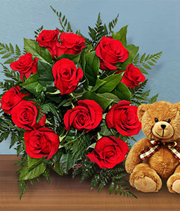 Sparkling Red Roses-Red,Rose,Teddy,Bouquet