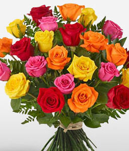Colourful Love-Mixed,Orange,Peach,Pink,Red,Yellow,Rose,Bouquet