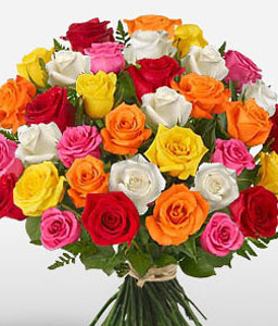 30 Mini Rainbow Roses-Mixed,Orange,Peach,Pink,Red,Yellow,Rose,Bouquet