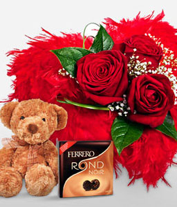 Special Love Combo-Red,Chocolate,Rose,Bouquet,Soft Toys