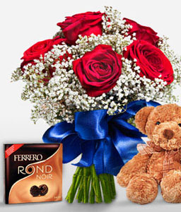 Mad About You-Red,Chocolate,Rose,Bouquet,Soft Toys