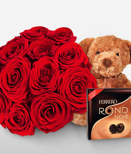 Rose Combo-Red,Chocolate,Rose,Bouquet,Soft Toys